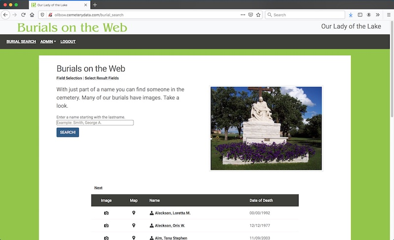 Burials on the Web